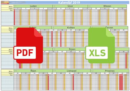 Unikátní pracovní plánovací kalendář 2019 v PDF i XLS