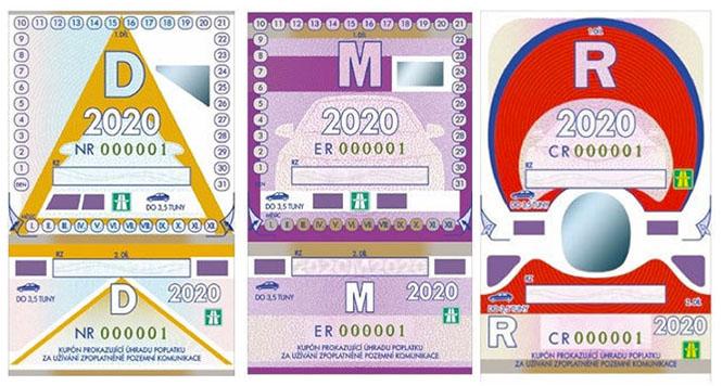 Dálniční známka v roce 2020 - vzhled